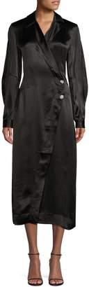 Ganni Satin Belted Robe Dress