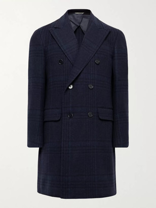 Canali Double-Breasted Checked Wool and Cashmere-Blend Overcoat - Men - Blue