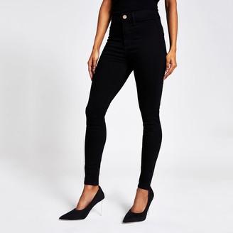 River Island Womens Petite Black Kaia high rise disco jeans