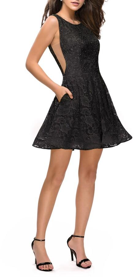 La Femme Lace Fit & Flare Cocktail Dress