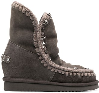 Mou Star-Studded Shearling Boots