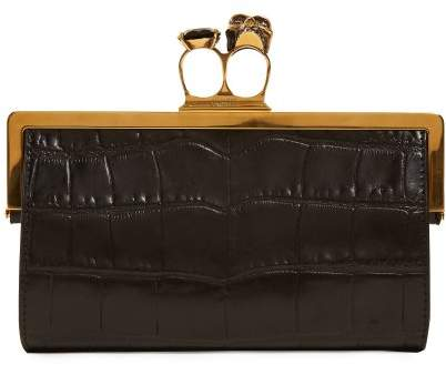 Alexander McQueen Crocodile Effect Leather Ring Clutch - Womens - Black