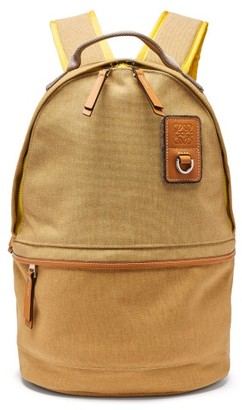 eye/LOEWE/nature Leather-trimmed Canvas Backpack - Beige