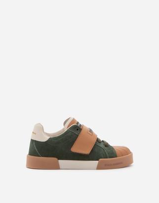 Dolce & Gabbana Suede And Calfskin Portofino Light Sneakers