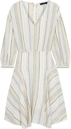 ATM Anthony Thomas Melillo Asymmetric Striped Linen-blend Dress