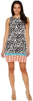London Times Twin Tribal Border Sleeveless Shift