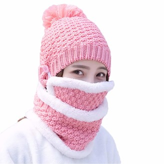 Boomly Ladies Girls Winter Knitted Cap Loop Scarf Mouthguard Set Warm Beanie Thicken Wool Cap Windproof Trapper Hat Ear Flap with Mask Cycling