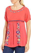 Westbound Petites Embroidered T-Body Top