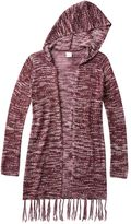 Mudd Girls 7-16 & Plus Size Space-Dyed Fringe Hooded Cardigan
