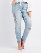 Charlotte Russe Plus Size Refuge Embroidered Boyfriend Jeans