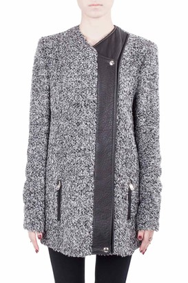 IRO Grey Wool Blend Leather Trim Derby Jacket M