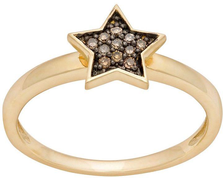 JLO by Jennifer Lopez Jlove by 10k gold 1/10-ct. t.w. champagne diamond star ring