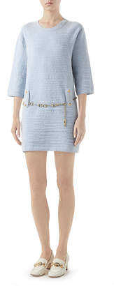 Gucci Half-Sleeve Belted Knit Crewneck Dress