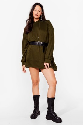 Nasty Gal Womens All Night Longline Plus Oversized Hoodie Dress - Olive