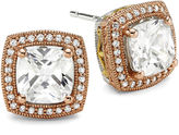 JCPenney FINE JEWELRY DiamonArt Cushion-Cut Cubic Zirconia 14K Rose Gold Over Silver Stud Earrings
