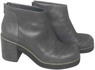 Jil Sander Grey Leather Ankle boots