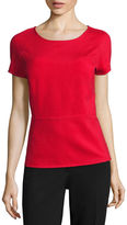 Liz Claiborne Short-Sleeve Textured Peplum Top