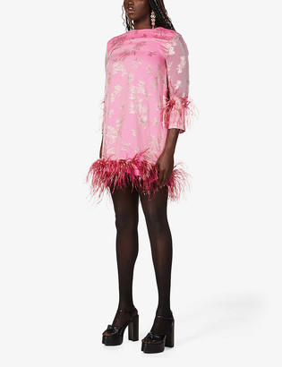 16Arlington Feather-trimmed silk-blend mini dress