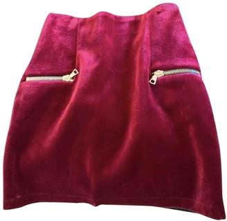 Sandro Red Velvet Skirt for Women