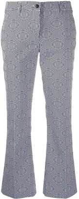 Pt01 Geometric-Print Cropped Trousers