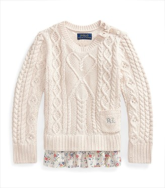 Ralph Lauren Kids Floral-Trim Cable-Knit Sweater (7-14 Years)