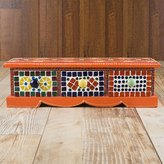 Rusticity Wooden Decorative Organizer Box for Jewelry / Spice Box / Desk Accessories - 3 Drawers - Orange Mosaic | Handmade | (14.5x4x4 in)