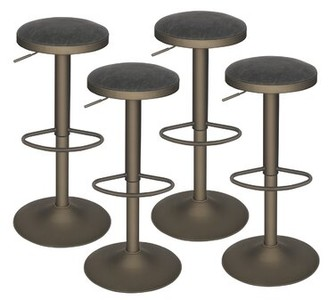 17 Stories Messmer Swivel Adjustable Height Bar Stool Pack Size: 4