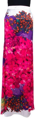 Roberto Cavalli Pink Floral Print Silk Satin Gathered Maxi Skirt L