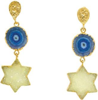 Yaa Yaa London Night Sky Lemon Denim Blue Star Gold Gemstone Statement Earrings