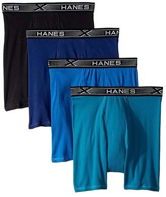 Hanes 4-Pack Xtemp Boxer Briefs (Assorted Blues) Men's Underwear
