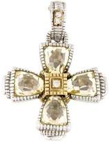 Judith Ripka Canary Crystal & Diamond Maltese Cross Pendant