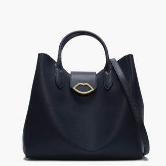 Lulu Guinness Luella Navy Grainy Leather Tote Bag