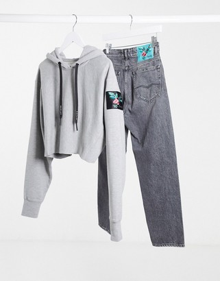 Replay cropped hoodie in grey
