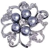 Bai You Mei Women's Austrian Crystal Elegant Leaf Pearl Teardrop Pendant Brooch