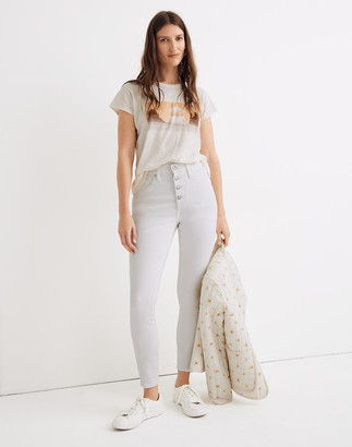 Madewell Curvy High-Rise Skinny Crop Jeans in Pure White: Button-Front Edition