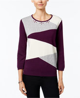 Alfred Dunner Colorblocked Beaded-Neck Sweater