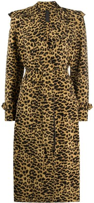 Norma Kamali leopard pattern trenchcoat
