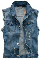 Hzcx Fashion Mens Sleeveless brushed Denim Vest broken holes Waistcoat -US LTAG 6XL