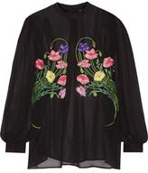 Christopher Kane Floral-Appliquéd Silk-Chiffon Blouse