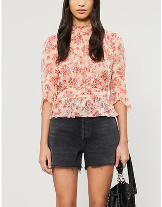 The Kooples Floral high neck chiffon top