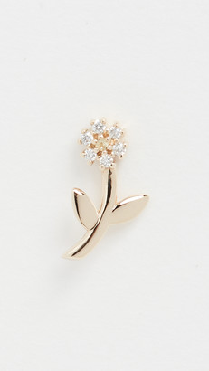 The Last Line 14k Mini Diamond Flower & Stem Stud Earring