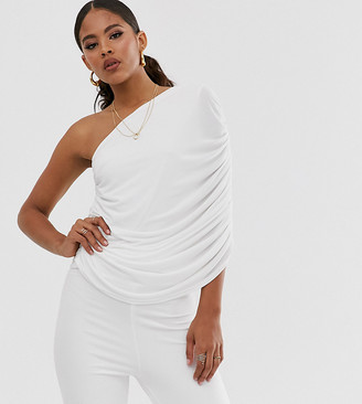 John Zack Tall one shoulder ruched jumpsuit in white