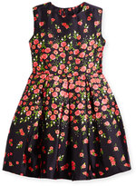 Oscar de la Renta Degrade Pansies Mikado Party Dress, Navy/Ruby, Size 2-14
