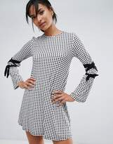 Daisy Street Gingham Dress With Tie Sleeve