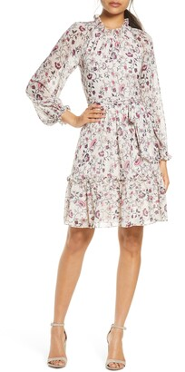Eliza J Floral Ruffle Long Sleeve Chiffon Dress