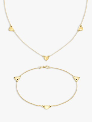 IBB 9ct Yellow Gold Box Chain Heart Necklace and Bracelet Set, Gold