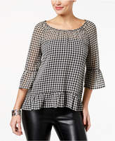 Style&Co. Style & Co Gingham Ruffle-Trim Blouse, Created for Macy's