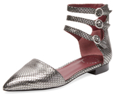 Marc by Marc Jacobs Minetta 3 Embossed Leather Ankle Strap Flat
