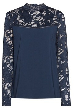 Dorothy Perkins Womens Vila Blue Long Sleeve Lace Top, Blue