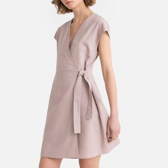 La Redoute Collections Cotton/Linen Tie-Waist Wrapover Dress